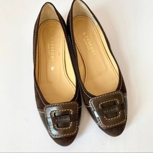 A. testoni Brown Suede Flats size 37 - 6.5